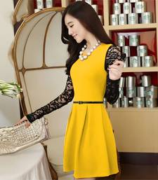 Buy Yellow Straight crepe  and  rasal stitched dresses dress online