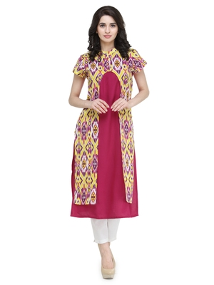 Pink rayon printed a line kurti with trouser.