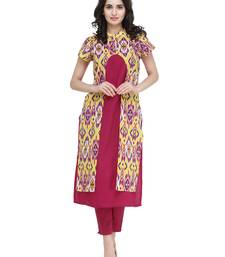 Indibelle Pink rayon printed a line kurti with trouser.