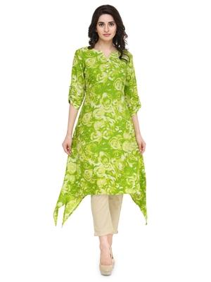 Lemon green rayon floral print a line kurti with trouser.