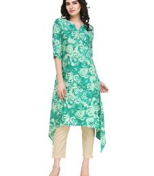 Green rayon floral print a line kurti with trouser.