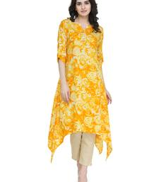 Yellow rayon floral print a line kurti with trouser.