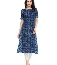 Indibelle Blue rayon floral print a line kurti with trouser.