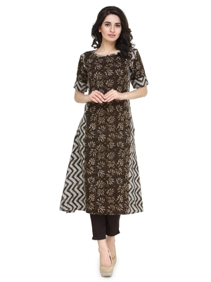 Coffee rayon floral print a line kurti with trouser.