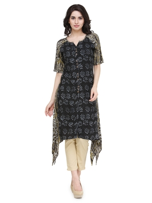 Black rayon floral print a line kurti with trouser.