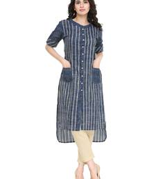 Blue cotton striped print striaght kurti with trouser.