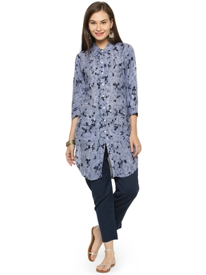Blue rayon floral print pathani style kurti with trouser.
