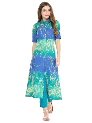 Indibelle Blue cotton abstarct print a line style kurti with trouser.