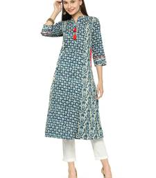 Blue cotton geometric print a line style kurti with trouser.