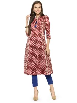 Wine cotton geometric print a line style kurti with trouser.