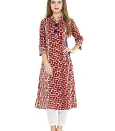 Wine cotton geometric print a line style kurti with trouser.