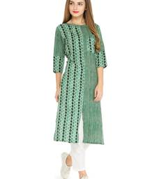 Green rayon striped print a line style kurti with trouser.