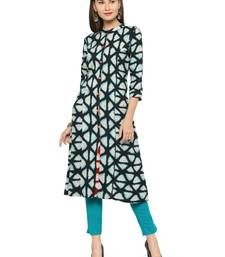 Blue rayon geometric print a line style kurti with trouser.