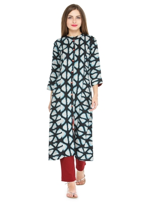 Indibelle Blue rayon geometric print a line style kurti with trouser.