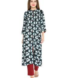 Blue rayon geometric print a line style kurti with trouser.