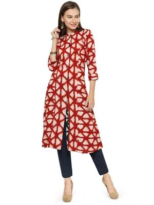 Indibelle Maroon rayon geometric print a line style kurti with trouser.