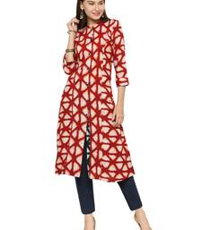 Maroon rayon geometric print a line style kurti with trouser.