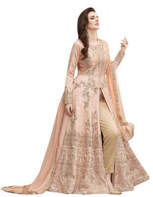 Peach Embroidered Silk Anarkali Suit