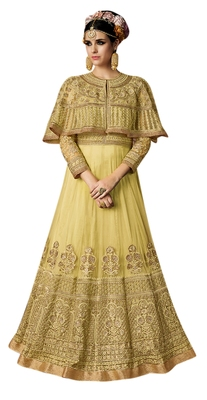 Yellow embroidered net Cape style Anarkali Suit