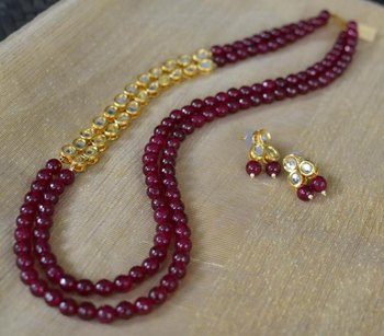 Red Onyx and Kundan Necklace set