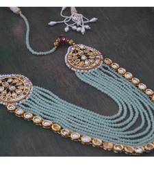 Buy Mint Green Crystals necklace with Kundan Pankhi Necklace online