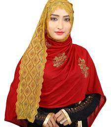 Maroon Colour Khati work Lace Work &  Diamond Stone work Indian Hoisery Cotton Hijab (Headscraf)