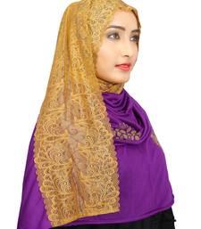 Purple Colour Khati Work Lace Work &  Diamond Stone Work Indian Hoisery Cotton Hijab (Headscraf)