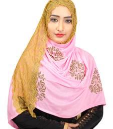 BabyPink Colour Khati work Lace Work &  Diamond Stone work Indian Hoisery Cotton Hijab (Headscraf)