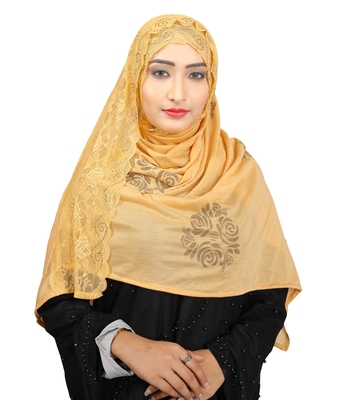 Beige Colour Khati Work Lace Work &  Diamond Stone Work Indian Hoisery Cotton Hijab (Headscraf)