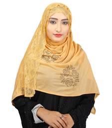 Beige Colour Khati work Lace Work &  Diamond Stone work Indian Hoisery Cotton Hijab (Headscraf)