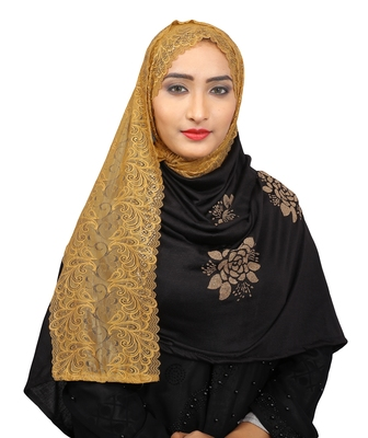 Black Colour Khati Work Lace Work &  Diamond Stone Work Indian Hoisery Cotton Hijab (Headscraf)
