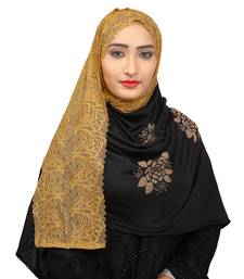 Black Colour Khati work Lace Work &  Diamond Stone work Indian Hoisery Cotton Hijab (Headscraf)