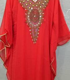 Red Georgette Hand Embroidery Stitched Abaya