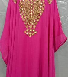 Pink Georgette Hand Embroidery Stitched Abaya