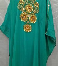 Shree Green Georgette Hand Embroidery Stitched Abaya