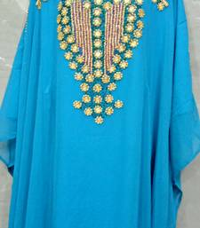 Sky Blue Georgette Hand Embroidery Stitched Abaya