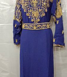 Hand Embroidery Stitched Kaftan In Blue