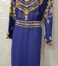 Hand Embroidery Stitched Kaftan In Dark Blue