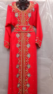 Hand Embroidery Stitched Kaftan In Red
