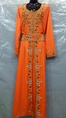 Hand embroidery stitched KAFTAN IN ORANGE
