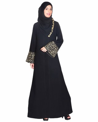 Black stitched Abaya With Gold Zari Embroidered Bell Sleeve