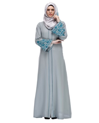 Sage Green stitched Abaya With Thread Embroidery