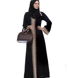 Buy Black And Fawn stitched Abaya With Gold Zari Embroidery abaya online