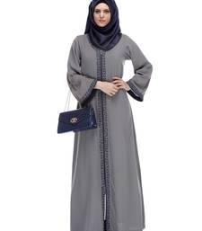 Buy Grey stitched Abaya Withembroidery abaya online