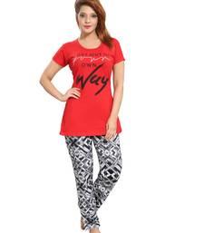 Buy Red cotton night dress. Set of pyjama and Tshirt. nightwear online