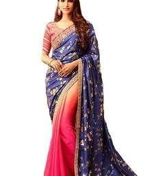 Buy Multicolor embroidered silk saree with blouse wedding-saree online