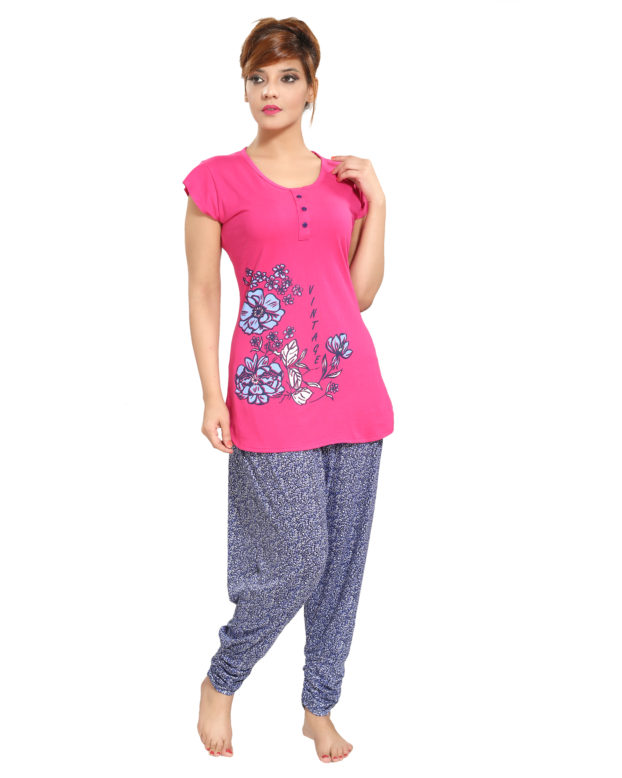 fbf2270ae4 Pink cotton night dress. Set of pyjama and Tshirt. - muhenera s - 2426823