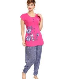 Buy Pink cotton night dress. Set of pyjama and Tshirt. nightwear online