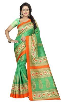 Green Printed Bhagalpuri Cotton Silk Saree with blouse