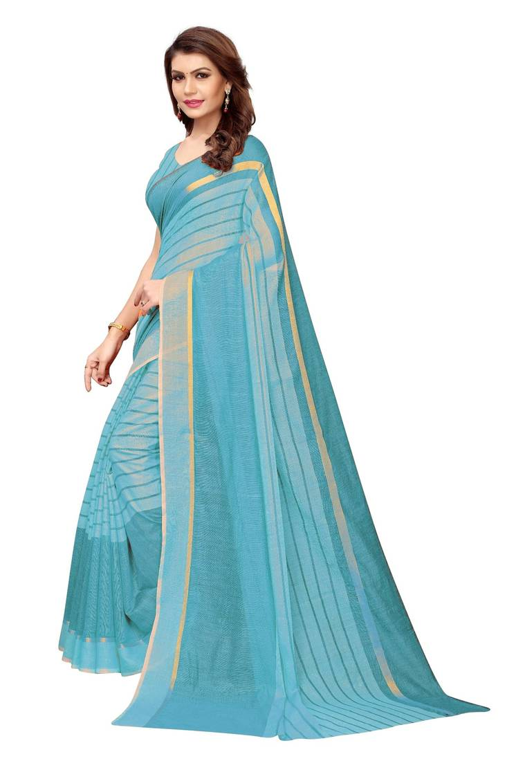 f1920db204 Sky Blue woven cotton silk saree with blouse - Shree Rajlaxmi Sarees ...